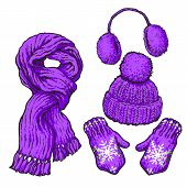 Set of bright purple knotted scarf, hat, ear muffs and mittens, sketch style vector illustrations isolated on white background. Hand drawn woolen scarf, hat with a pompom, mittens and ear warmers poster