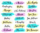 USA city lettering. New York Miami Boston Dallas Washington Atlanta Chicago Detroit Baltimore Los Angeles Las Vegas Seattle San Francisco Houston San Diego Jose Antonio Austin Denver poster