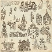 RELIGION around the World. Collection of an full sized hand drawn illustrations. Veneration Worship and Spiritual places. Drawing on old paper. poster