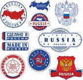 Russia. Set of generic stamps and seals including elements of Russian coat of arms with double head Russia outline map and flag. poster