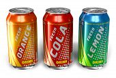 Set of refreshing soda drinks in metal cans on white background poster