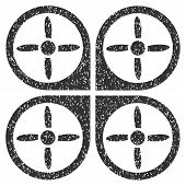 Copter grainy textured icon for overlay watermark stamps. Flat symbol with dirty texture. Dotted vector gray ink rubber seal stamp with grunge design on a white background. poster