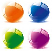 Glossy spheres. Vector. poster