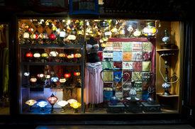 Turkish Souvenir Shop At Night