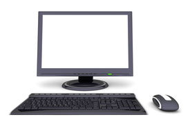 Modern Work Desk With Screen, Keyboard And Mouse
