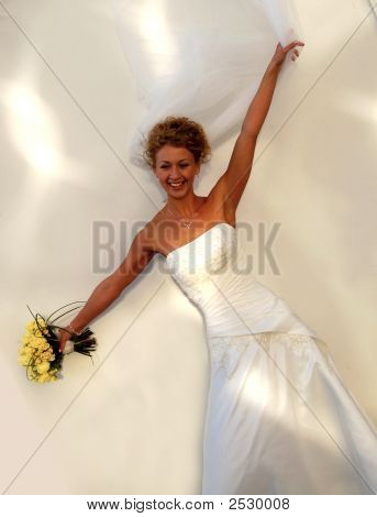 Flying Bride In Wedding Dress