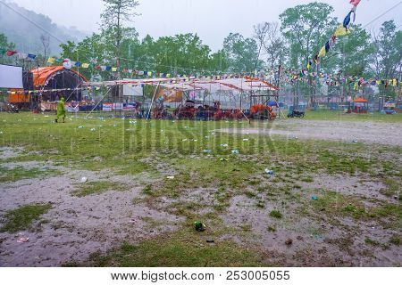 Heavy Rain Dispersed All The Tourists In The Park On April 11, 2018 Pokhara, Nepal.