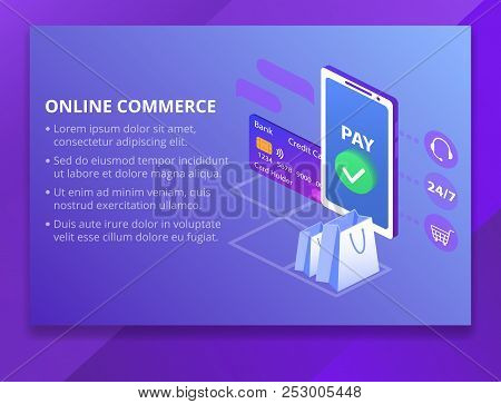 Online Commerce Vector Illustration For E-business Or E-commerce Technology. Mobile App For Payment