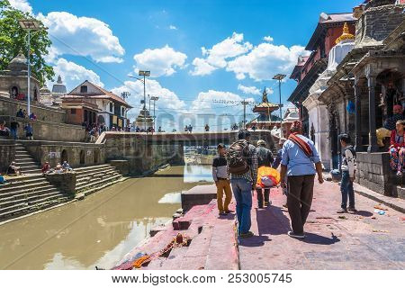 Burial Ceremony On The Banks Of The Bagmati River In The Pashupatinath Temple 13 April 2018, Kathman