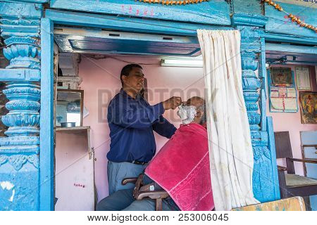 Kathmandu, Nepal-13.04.2018: Shaving Beard Right On The Street 13 April 2018 Kathmandu, Nepal.