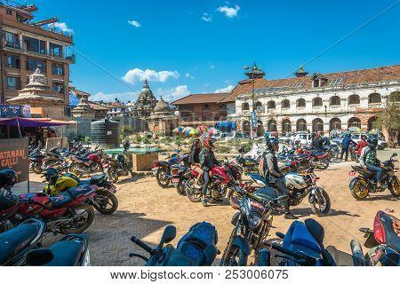 Kathmandu, Nepal-13.04.2018: Motorcycle Parking 13 April 2018 Kathmandu, Nepal.