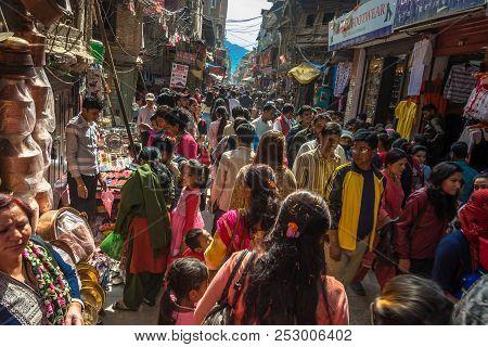On The Narrow Streets Of The Capital On April 14, 2018, Kathmandu, Nepal.