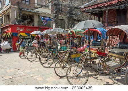 Kathmandu, Nepal - 14.04.2018: Parking Of Cycles 14 April 2018, Kathmandu, Nepal.