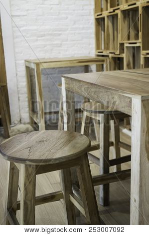 Minimal Style Interior Of Empty Cafe, Stock Photo