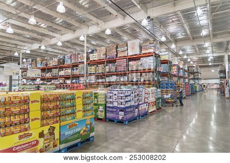 Inside Costco Wholesale Store Customer Shopping In Seattle, Washington