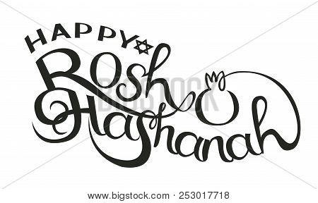 Happy Rosh Hashanah Hand Drawn Lettering Vector Illustration.
