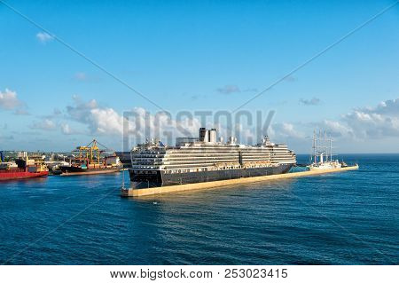 Bridgetown, Barbados - December 12, 2015: Cruise Ship Docked In Sea Port. Cruise And Sea Travelling.