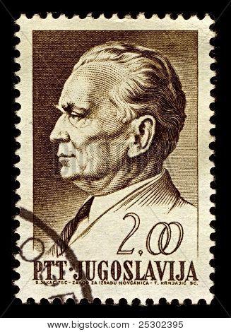 YUGOSLAVIA-CIRCA 1968:A stamp printed in Yugoslavia shows image of Josip Broz Tito was a Yugoslav revolutionary and statesman, circa 1968.