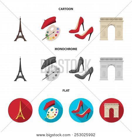 Eiffel Tower, Brush, Hat .france Country Set Collection Icons In Cartoon, Flat, Monochrome Style Vec