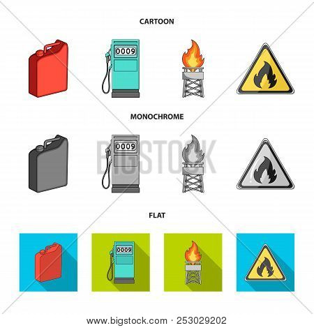 Canister For Gasoline, Gas Station, Tower, Warning Sign. Oil Set Collection Icons In Cartoon, Flat,