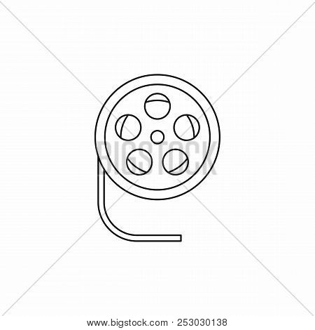 Film Reel Icon In Outline Style Icon In Outline Style On A White Background
