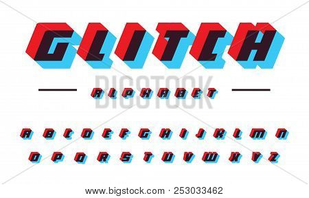 Glitch Vector Latin Alphabet. Speed Moving Bold Italic Font. Applique Letters, Color Offset Effect.