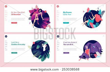 Set Of Web Page Design Templates For Beauty, Spa, Wellness, Natural Products, Cosmetics, Body Care,