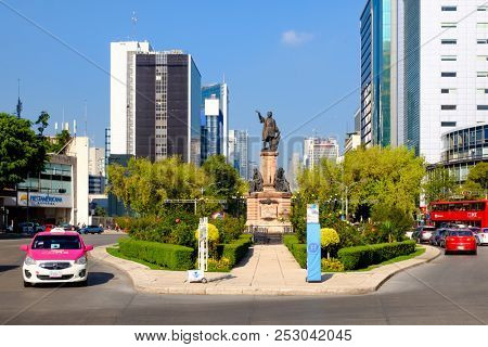 MEXICO CITY,MEXICO - JULY 18,2018 : The Christopher Columbus monument at Paseo de la Reforma in Mexico City