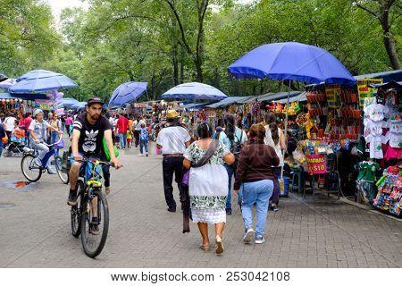 MEXICO CITY,MEXICO - JULY 11,2018 : Street market at Chapultepec Park in Mexico City