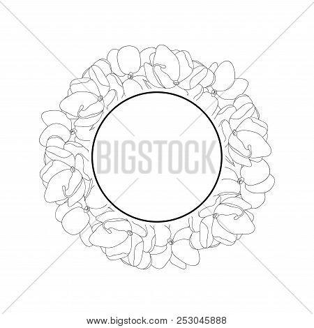 Jasminum Sambac - Arabian Jasmine Outline Banner Wreath. Vector Illustration.
