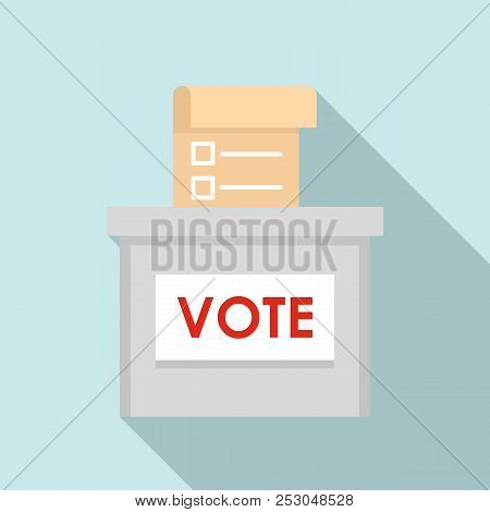 Vote Election Box Icon. Flat Illustration Of Vote Election Box Icon For Web Design