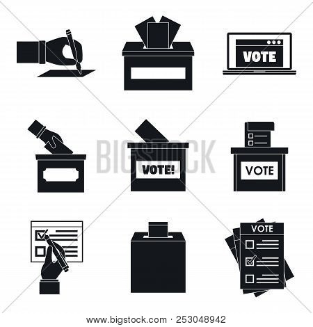 Ballot Voting Box Vote Polling Icons Set. Simple Illustration Of 9 Ballot Voting Box Vote Polling Ic