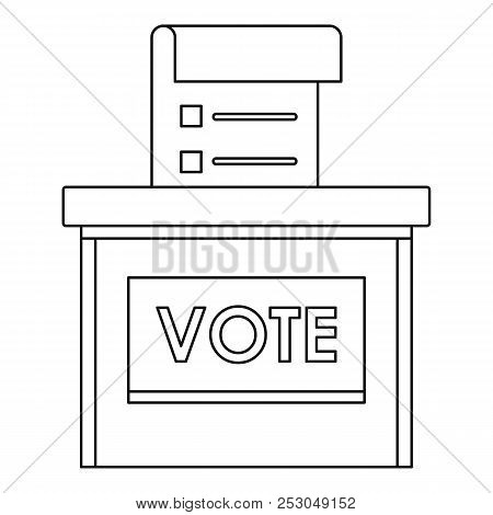 Vote Election Box Icon. Outline Vote Election Box Icon For Web Design Isolated On White Background