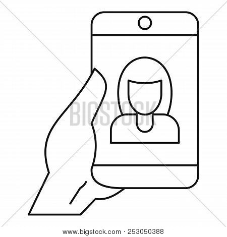 Woman Take Selfie Smartphone Icon. Outline Woman Take Selfie Smartphone Icon For Web Design Isolated