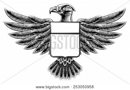 Vintage Woodcut Or Woodblock Style Wing Shield Eagle Insignia Motif