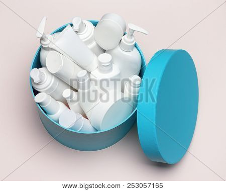 Open Large Round Gift Box Filled With Cosmetics. Variety Of Different Cosmetic Products. Close-up, T