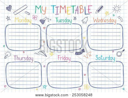 School Timetable Template On Copy Book Sheet With Hand Written Text. Weekly Lessons Shedule In Sketc