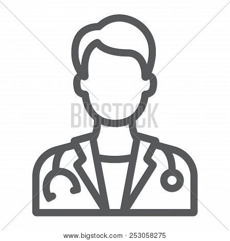 Doctor Line Icon, Medicine And Hospital, Physician Sign, Vector Graphics, A Linear Pattern On A Whit