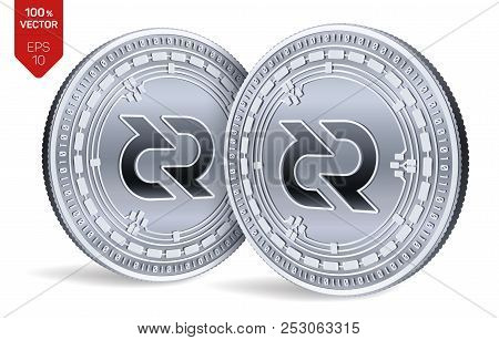 Decred. Crypto Currency. 3d Isometric Physical Coins. Digital Currency. Silver Coins With Decred Sym