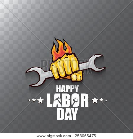 Vector Labor Day Usa Label Or Background. Vector Happy Labor Day Poster Or Banner With Clenched Fist