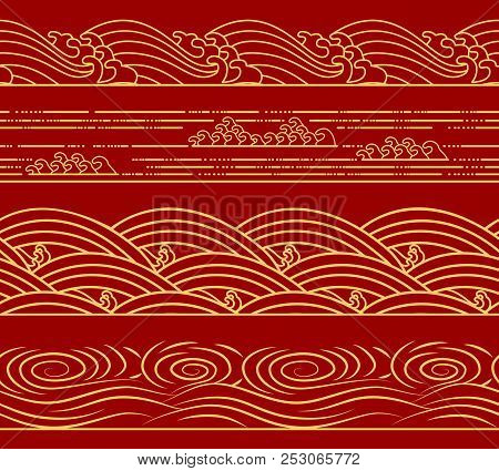 Water Sea Waves Set, Ocean Theme, Fashion Retro Seamless Horizontal Pattern. Asian Chinese Japanese