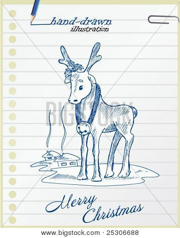 christmas deer - hand-drawn illustration