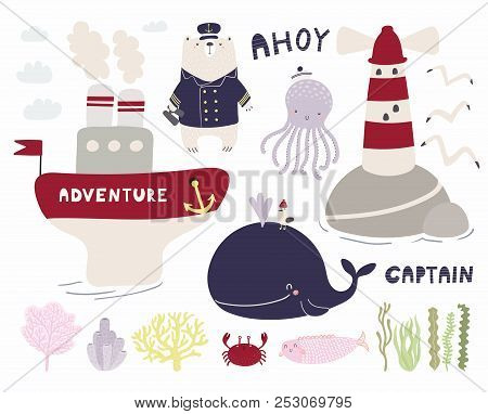 Sea Set With Cute Funny Bear Sailor, Octopus, Whale, Ship, Lighthouse, Seagulls, Corals, Seaweed. Is