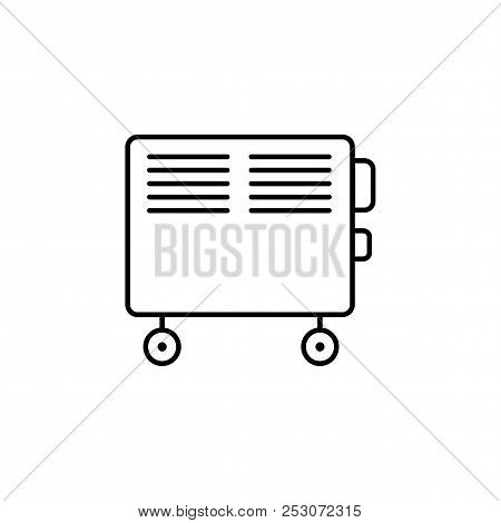 Vector Illustration Of Electric Convector. Line Icon Of Portable House Heater. Isolated Object On Wh