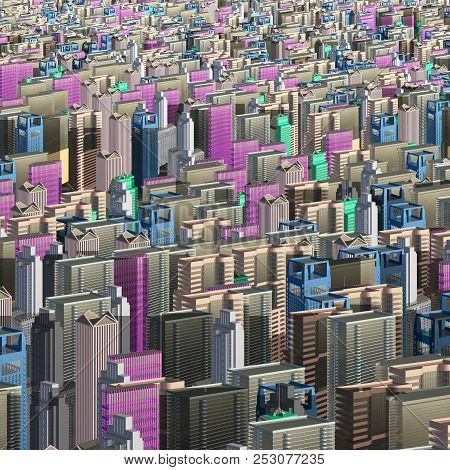Multicolored skyscrapers and office buildings in the center of the metropolis 3d illustration poster