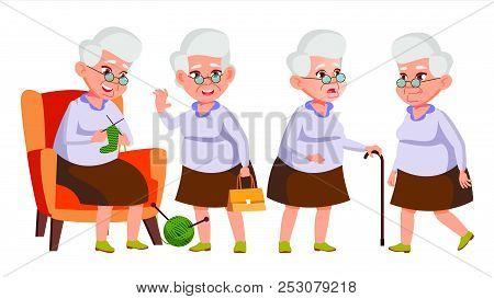 Old Woman Poses Set Vector. Elderly People. Senior Person. Aged. Funny Pensioner. Leisure. Postcard,
