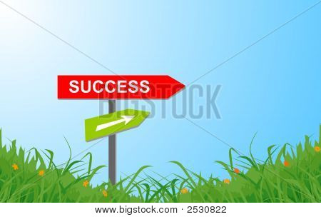 Success Sign On Grass Land With Bluie Sky