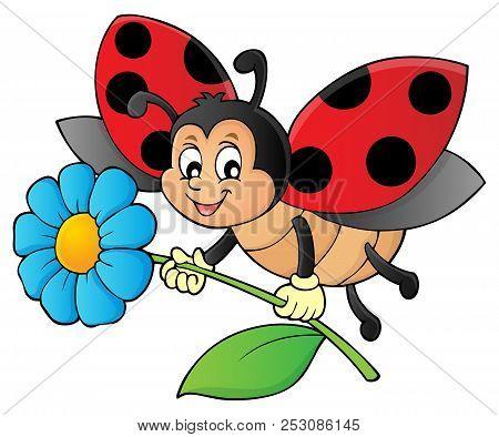 Ladybug Holding Flower Theme Image 1 - Eps10 Vector Picture Illustration.