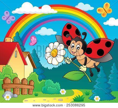 Ladybug Holding Flower Theme Image 4 - Eps10 Vector Picture Illustration.