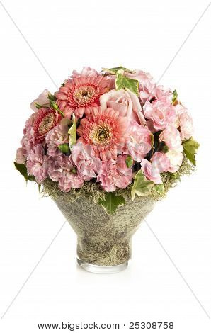 pink carnation with herbera bouquet